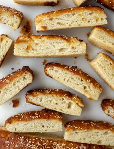 This sesame pretzel focaccia bread is amazing! Almost like a soft pretzel with crispy edges. Serve with a delicious dijon beer cheese. Pretzel Cheese, Baking Soda Water, Beer Cheese, How To Make Sandwich, Fresh Chives, Soft Pretzels, Stop Eating, How Sweet Eats, Bread Recipes