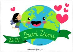 Dzień Ziemi - napis - Printoteka.pl Earth Day, Montessori, Classroom, Education, Logos, Children, Diy, Therapy, Drawings