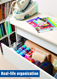 Whether you have a dedicated sewing room or fit all of your sewing necessities into a drawer at work, you have something in common with one of our staff members. See how the folks at American Patchwork & Quilting magazine keep it all in order. Storage Organization, Organizing, All People Quilt, American Patchwork And Quilting, Sewing Rooms, Real Life, Drawers, Home Appliances, Cleaning