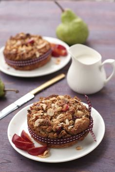 Pear and plum cake with hazelnuts - made with wholewheat flour, jaggery and flaxmeal.  http://tongueticklers.com/2011/06/pear-and-plum-cake-with-hazelnuts/