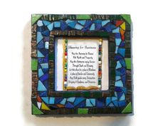 Business Blessing Wall hanging Mosaic Glass Art  Office Home Decoration Blue Green