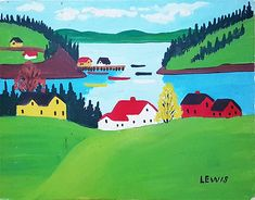 An Original Oil Painting by Maud Lewis of Sandy Cove, Nova Scotia Watercolor Bird, Watercolor Paintings, Maudie Lewis, Black Sheep, Canadian Artists, Nova Scotia, Graphic Illustration, Folk Art, Art Nouveau