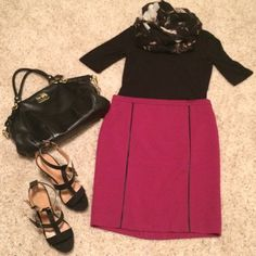 """💕NWOT wine pencil skirt with black detail💕 Front features black thin stripe detail, back has 5"""" slit and is plain (as shown in pic #4). Polyester/rayon/spandex blend. Fully lined, zipper in back, and measures 21"""" from waist to hem. Never worn. Forever 21 Skirts Pencil"""