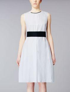 Ramié and cotton dress, optical white - GREGORY Max Mara