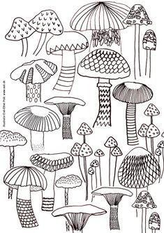 mushroom coloring sheet US-Letter size printable by EeliArtStudio