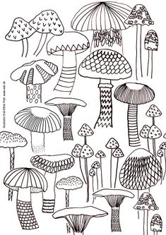 mushroom coloring sheet US-Letter size printable by EeliArtStudio
