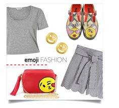 """heart on sleeve - emojis everywhere else =)"" by collagette ❤ liked on Polyvore featuring Olivia Miller, Miss Selfridge, Tai and emoji"