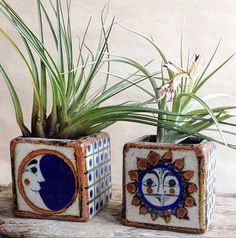 Vintage Moon and Sun Vases Votive Candleholders Art Pottery