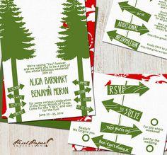 Wedding Invitation Suite: (Camping, Rustic, Trees, Green, Outdoor, Weekend) Camp Wed DIGITAL