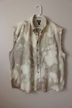 This shirt is a great 90s vintage plaid, brushed cotton so it feels a bit like flannel.  Its a vintage 90s Denver Hayes brand pale tan plaid that weve distressed and splatter bleached.  Weve done all the hard work for you, its beautifully frayed and aged strategically all over the shirt - collar, bottom hem, arms holes, etc.  Heres your info on it -  - Size XX Large, check measurements - Across chest flat, pit to pit - 26 (52 around)  - Shoulder seam down, front - 29  - Shoulder seam down…