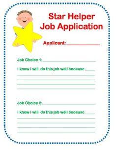 Classroom Job Application Freebie Great Way To Get Kids To