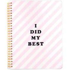 Miss Selfridge Did My Best Notebook ($18) found on Polyvore featuring home, home decor, stationery, filler, pink and assorted