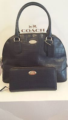 New Coach Midnight Blue Croc  Leather Cora Domed Satchel Bag & WALLET.