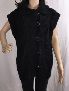 Samantha's Style Shoppe Sweater Vest Solid Black Cotton Blend Jacket - Medium    eBay