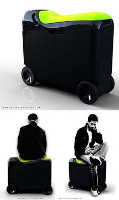 Move On travel suitcase by Agent turns into a scooter, stroller and luggage cart Travel Luggage, Luggage Bags, Travel Bags, Airport Luggage, Travel Items, Travel Stuff, Designer Luggage, Luggage Accessories, Fashion Bags