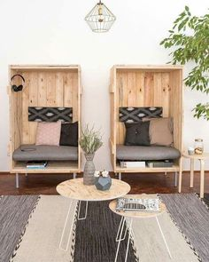 architecture & home Comfortable seating area in the office with DIY upcycling beach chairs from over Diy Furniture, Furniture Design, Furniture Shopping, Online Furniture, Interior And Exterior, Interior Design, Diy Upcycling, Home And Deco, Beach Chairs
