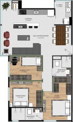 Unik 114 | Investcorp Empreendimentos Small House Floor Plans, Dream House Plans, Modern House Plans, Home Building Design, Home Design Plans, Building A House, House Floor Design, Small House Design, 4 Bedroom House Designs