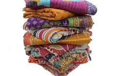 Indian Handmade Quilt Vintage Kantha Bedspread Cotton Throw  Blanket Gudari 3 PC #Handmade #ArtDecoStyle