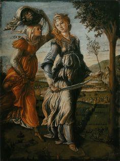 De terugkeer van Judith naar Betulia ~ Linkerpaneel van een diptiek ~ ca. 1470 ~ 31 x 24 cm. ~ Galleria degli Ufizzi, Florence