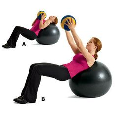 15 minutes deep abdominal workout using stability ball and medicine ball