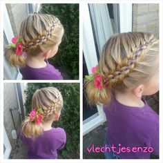 Six strand braid with ribbon.  #cutegirlshairstyles #hairstylesforgirls #haircreations @vlechtjesenzo