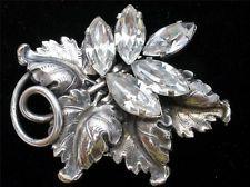 Antique France Brevete Rhinestone Dress Clip Scarf Brooch French SGDG Silver