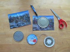 ** Ornaments I made using old Christmas cards and tin can lids.