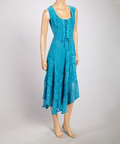 Look what I found on #zulily! Turquoise Embroidered Lace-Up Maxi Dress by Fashion Terminal #zulilyfinds
