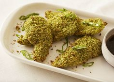 """Can't wait to try this recipe """"Matcha Chicken Tenders with Ginger Citrus"""" by Giada De Laurentiis from Giada's digital weekly! Dash Diet Recipes, Diet Dinner Recipes, Drink Recipes, Giada Recipes, Cooking Recipes, Cooking Stuff, Giada De Laurentiis, Matcha Green Tea, Chicken Tenders"""