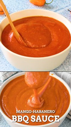 This mango-habanero bbq sauce recipe is perfect for grilled shrimp, fish, chicken or pork, with just the right amount of sweet and heat. Best Sauce Recipe, Hot Sauce Recipes, Barbecue Sauce Recipes, Pork Recipes, Cooking Recipes, Bbq Sauces, Kansas City Bbq Sauce Recipe, Hot Pepper Recipes, Best Bbq Recipes