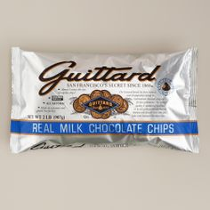 Guittard Milk Chocolate Chips - these extra large chips are the most decedent I have ever tasted!  A MUST for your baking pantry.  I even set out little silver bowls filled with these during cocktail parties, guests go crazy for them!