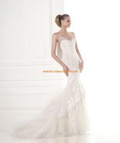 Meerjungfrau Rückenfreie Luxuriöse Brautkleider aus Softnetz mit Applikation