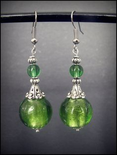 Items similar to Stunning Glass & Silver Vintage Style Earings Handmade In New Zealand on Etsy