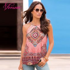 a04c5b366ef2 Find More T-Shirts Information about Versear Boho Women Printed Sleeveless  T Shirt Halter Cold