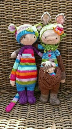 RADA the rat KIRA the kangaroo made by Patricia N. / crochet patterns by lalylala.super cute kawaii amigurumi crochet doll patterns in kangaroo costume cool little toys