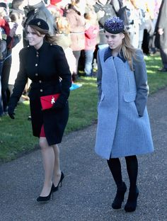 Princess Eugenie and Princess Beatrice arrive for church, December 25, 2013