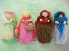 Needle felted seasonal dolls