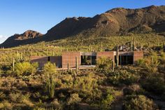 """Residential Architecture: Tucson Mountain Retreat by DUST: """"..The Tucson Mountain Retreat is located within the Sonoran Desert (Tucson, Arizona, USA); an extremely lush, exposed, arid expanse of land that emits a sense of stillness and permanency, and holds mysteries of magical proportions. The home is carefully sited in response to the adjacent arroyos, rock out-croppings, ancient cacti, animal migration paths, air movement, sun exposure and views. Great effort was invested to minimize the..."""
