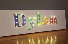 Lighted name sign, Rainbow wall art, Name lights, Rainbow theme room, Light up n. Lighted name sig Nursery Letters, Nursery Signs, Nursery Decor, Wall Decor, Wall Art, Bedding Decor, Nursery Room, Bedroom Decor, Rainbow Theme