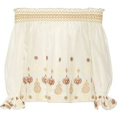 Rachel Zoe Veronica off-the-shoulder embroidered cotton and silk-blend... ($405) ❤ liked on Polyvore featuring tops, white, white embroidered top, bohemian style tops, off the shoulder tops, white bohemian top and boho tops