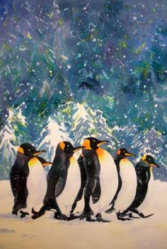 Cool Dudes Penguins, painting by artist Kay Smith