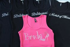 (5) TANK TOPS Wedding Party Gifts Bridal Shower Gift Bridal by #ArenLace, $75.00