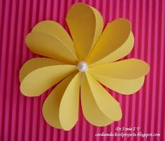 Cards ,Crafts ,Kids Projects: Flat Folding Heart Punch Flower Tutorial.  Going to try this with my g-daughters... V