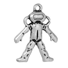 5 SPACE ASTRONAUT Charms Antique Silver Tone Metal by SmartParts