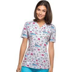"EDS Prints ""Smile Pretty"" has a fresh dental print with tossed lips and dental inspired verbiage. Dental Scrubs, Medical Scrubs, Dental Life, Uniform Advantage, Scrub Tops, Floral Tops, V Neck, Smile, Pretty"