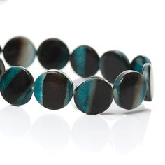 """1 Strand Round Shell Loose Beads Black Green 13mm(4/8"""") Approx. 34pcs"""