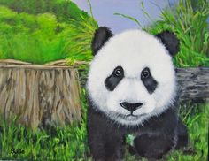 #panda, #art, #painting, #animals, #cute based on a photograph from an animal book