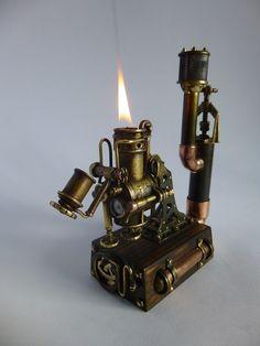 """""""Паровая станция"""" Настольная зажигалка / Наши пользователи / Блошиный рынок / Коллективные блоги / Steampunker.ru - сеть для любителей steampunk'а Chat Steampunk, Costume Steampunk, Style Steampunk, Steampunk Gadgets, Steampunk Design, Steampunk Lamp, Steampunk Fashion, Custom Lighters, Cool Lighters"""