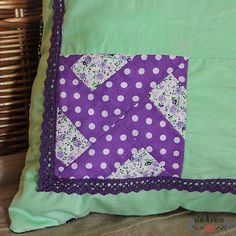 A patchwork pillowcase for decorative pillows. Thanks to its vibrant colours and to the lace decoration it is the perfect choice for a living room, bedroom, or for a babys room. How To Make An Envelope, Baby Zimmer, Vibrant Colors, Colours, Patchwork Pillow, Lace Decor, White Fabrics, Baby Room, Decorative Pillows