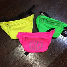 Monogrammed Fanny Pack null via null . See Buy Options -Neon color fanny packs expand up to waist -Non-neon color fanny packs expand up to waist -Nylon w/ PU Coating -Size x zippered pockets -Monogram is heat-applicated vinyl See Buy Options Vine Monogram Font, Monogram Initials, Mardi Gras Outfits, Sorority Big Little, Bid Day, Spring Break, Summer, One Pic, Fanny Pack